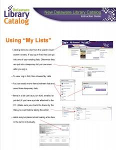 My Lists info